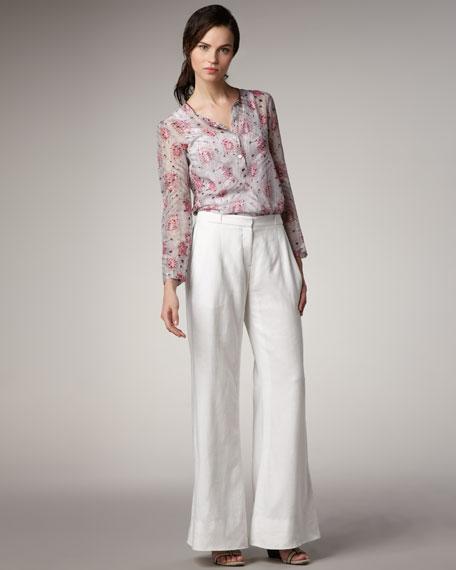 Wide-Leg Linen-Blend Pants