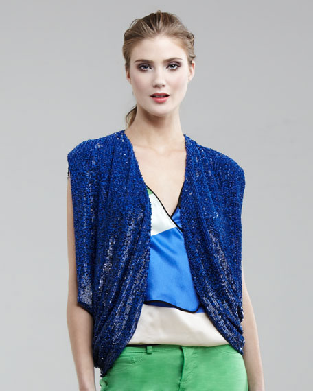 Sequined Draped Vest