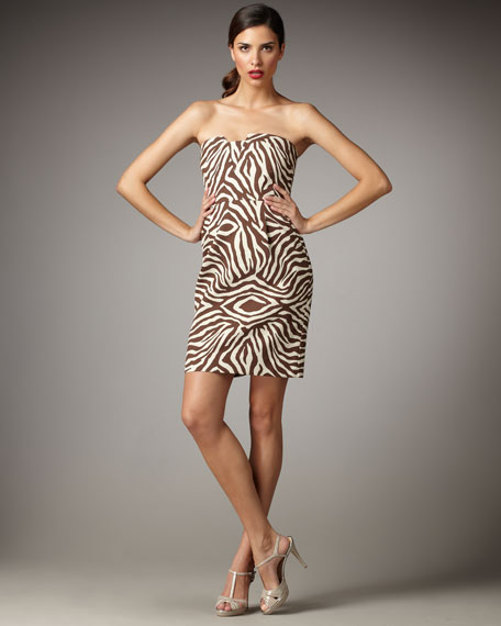 matilda zebra-print strapless dress