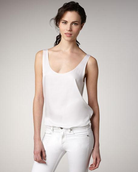 Silk Tank, White