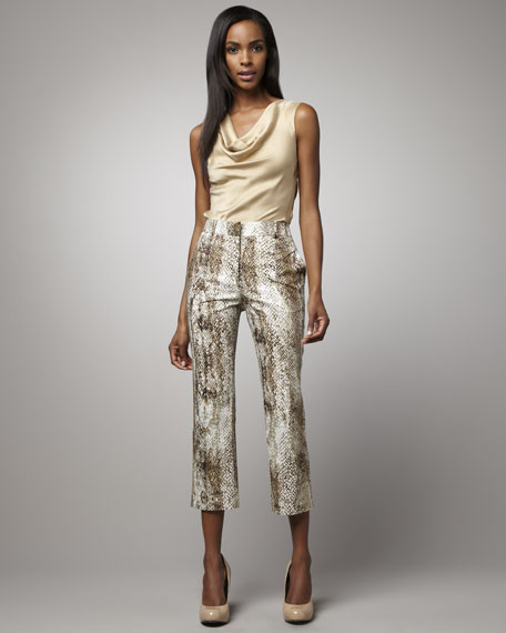 Slim Snake-Print Suit Pants