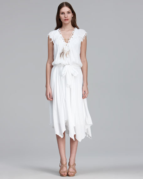 Feather-Necklace Cotton Dress