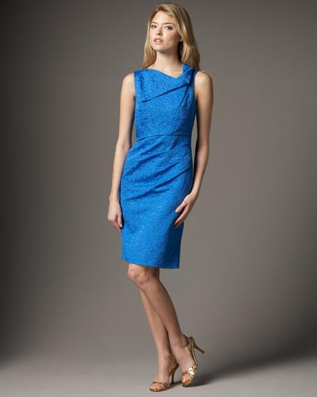 Pleat-Detail Brocade Dress