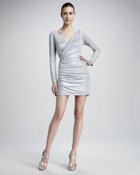 Metallic Long-Sleeve Dress