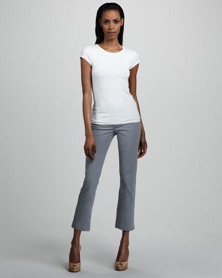 Audrey Lizard-Print Ankle Pants, Women's, Blue