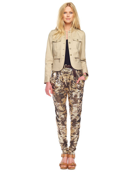 Sequined Camo  Deep-Pocket Pants, Rich Olive