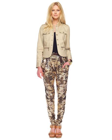 Sequined Camo  Deep-Pocket Pants, Rich Olive