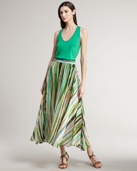 Striped Chiffon Maxi Skirt
