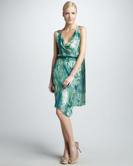 Snake-Print Cape Dress