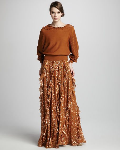 Ruffled Metallic Maxi Dress