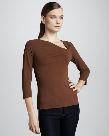 Asymmetric-Neck Top, Walnut
