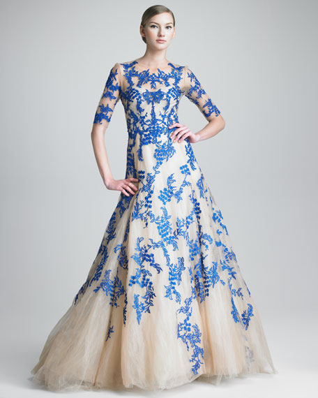 Three-Quarter-Sleeve Tulle/Lace Gown