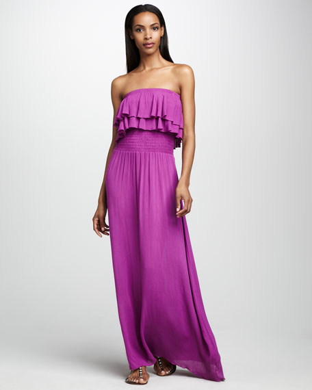 Strapless Ruffled Maxi Dress