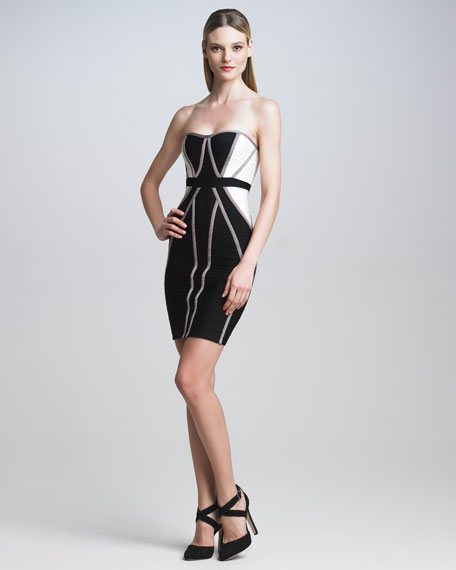 Strapless Colorblock Bandage Dress