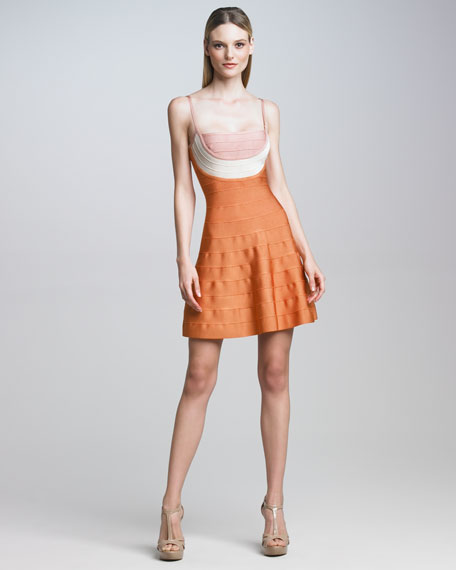 Colorblock Fit-and-Flare Bandage Dress