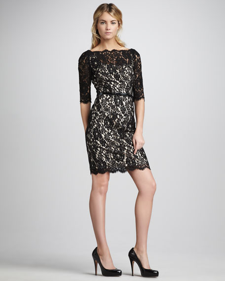 Single Belted Lace Dress