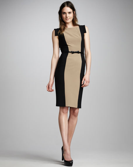 Victoria Belted Two-Tone Dress
