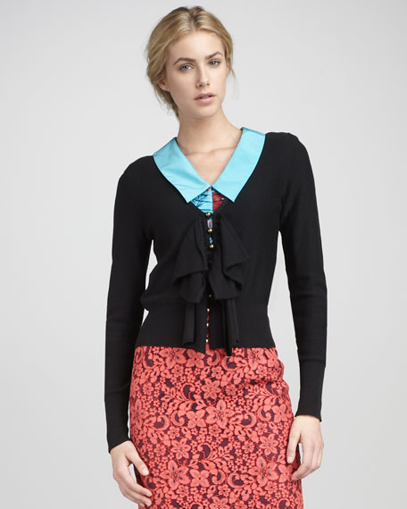 Long-Sleeve Rib-Trim Bow Cardigan