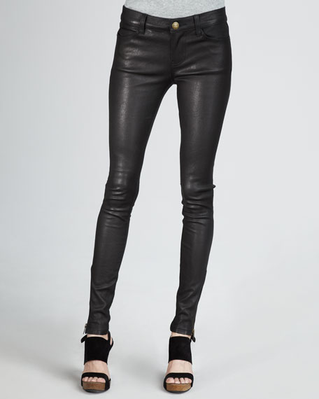 The Skinny, Zip-Cuff Leather Leggings, Black