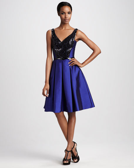 Sequined Taffeta Cocktail Dress
