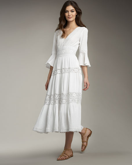 Lace-Insert Gauze Midi Dress