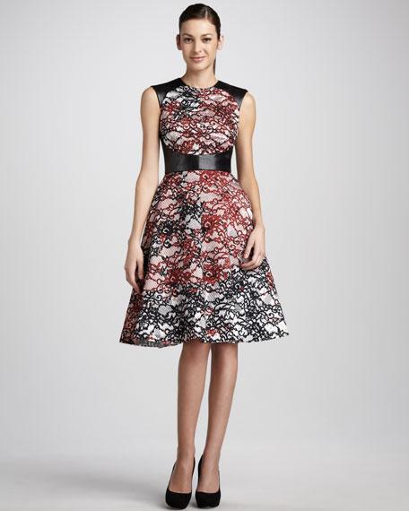 Leather-Bodice Lace Dress
