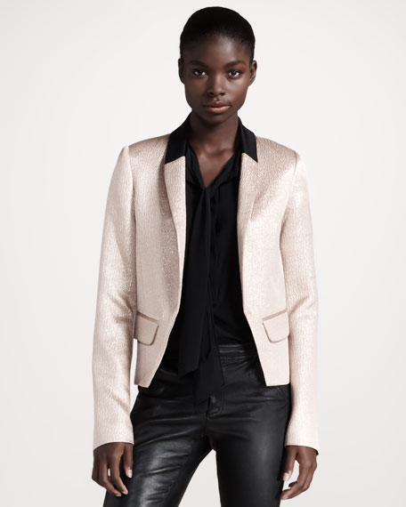 Metallic Shawl-Collar Jacket