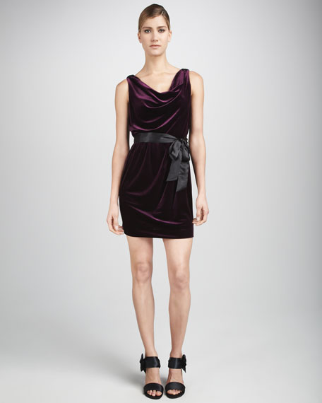 Velvet Cowl-Neck Dress