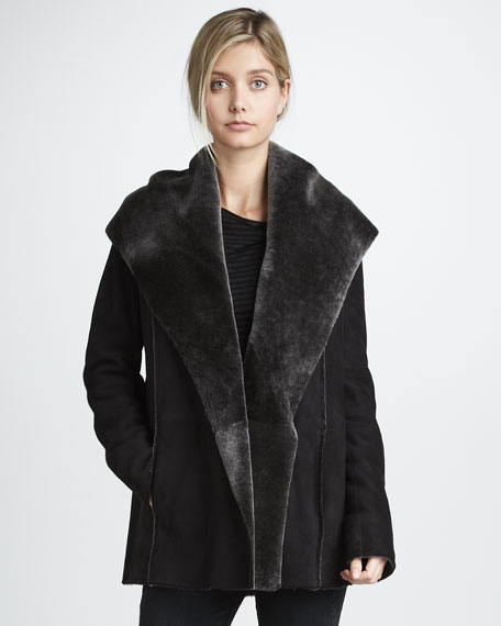Hooded Coat with Shearling Lining