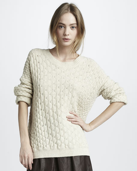 Textured V-Neck Sweater, Ivory