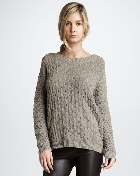 Textured V-Neck Sweater, Rock