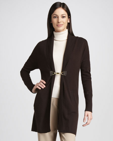 Cashmere Front-Clasp Cardigan