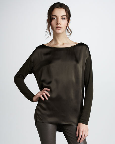 Knit Long-Sleeve Silk Tee