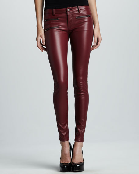 Faux-Leather Pants, Burgundy