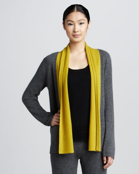 Two-Tone Cashmere Open Cardigan