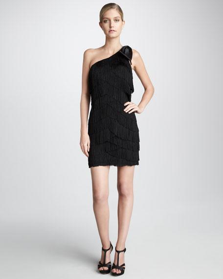 Bow-Shoulder Fringe Dress