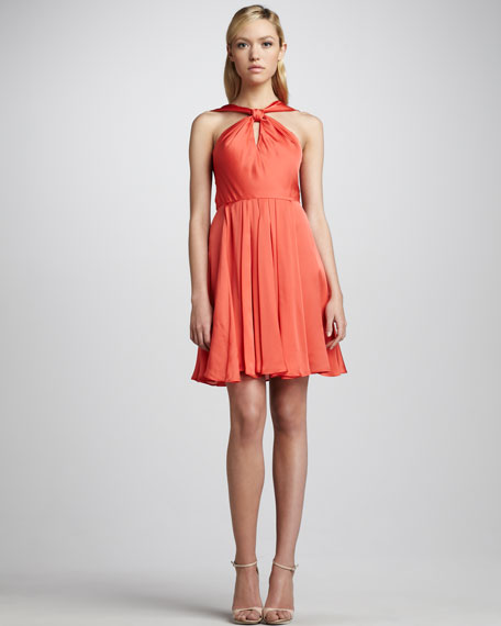 Knotted Halter Dress, Tangelo