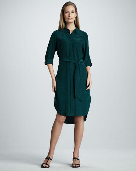 Washed-Silk Shirtdress