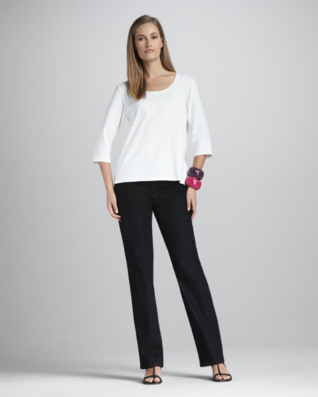 Organic Straight-Leg Jeans, Black Indigo