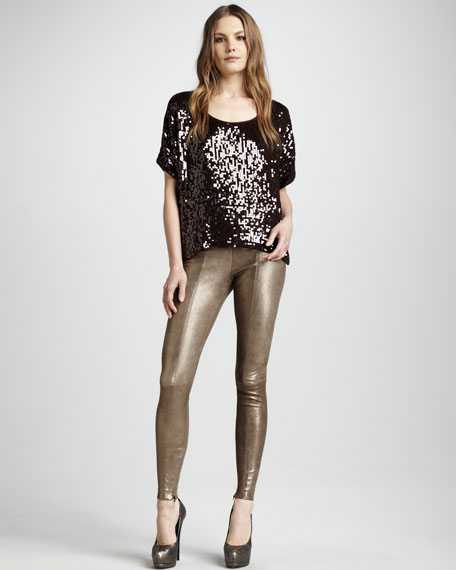Metallic Leather Leggings