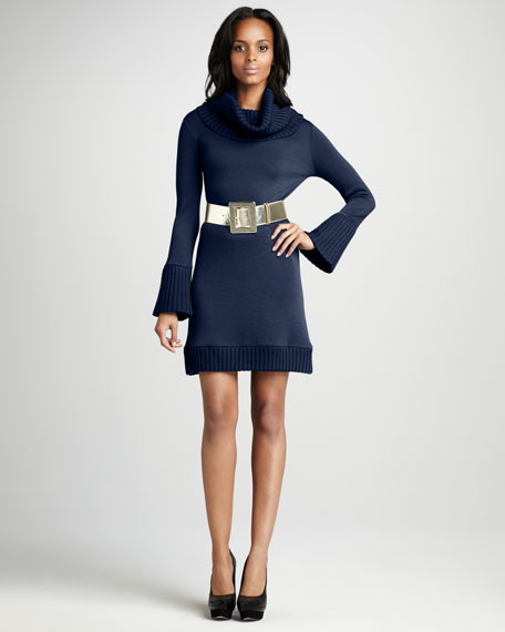 Belted Turtleneck Dress