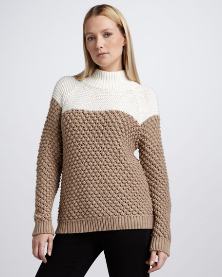 Colorblock Mock-Neck Sweater