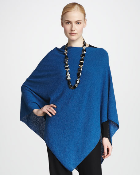 Washable Wool Crepe Poncho