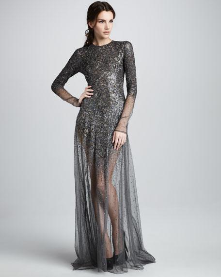 Dathen Sheer Beaded Gown