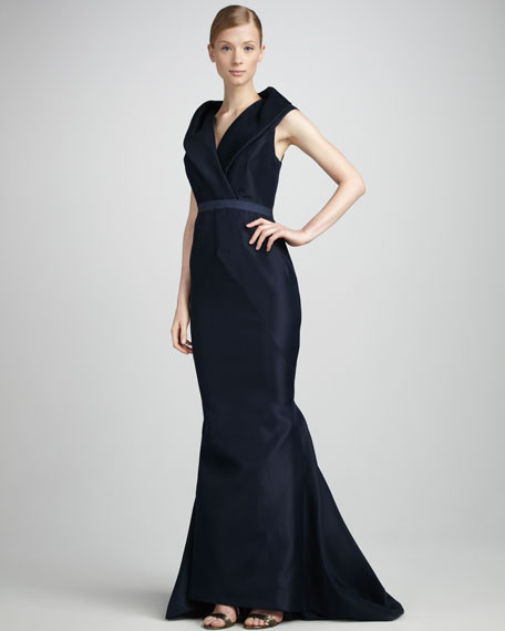 Draped Collar Gown