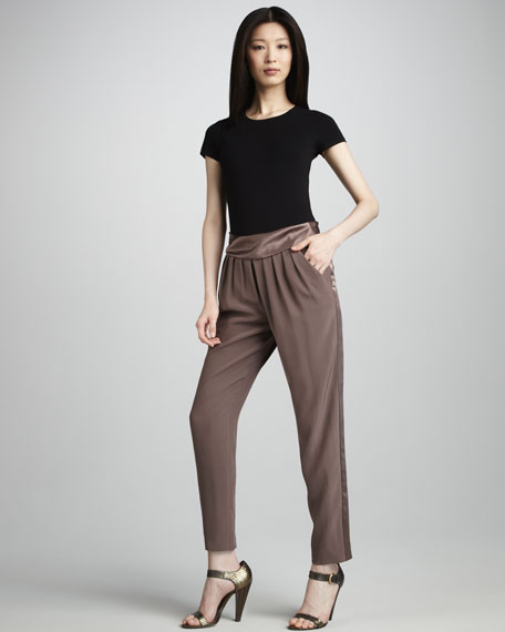 Contrast-Stripe Silk Pants