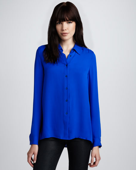 Basic Silk Blouse, Sapphire
