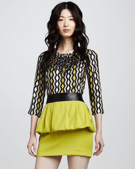 Leather-Waist Peplum Skirt
