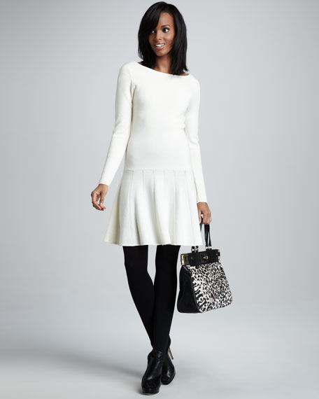 Sandra Drop-Waist Dress, Winter White