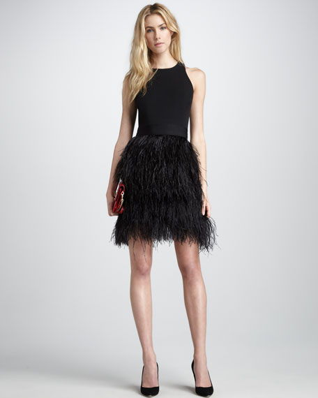 Sasha Feather-Skirt Dress